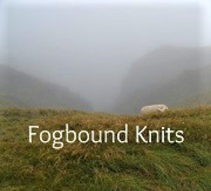 Photograph of a foggy farm landscape with the words Fogbound Knits