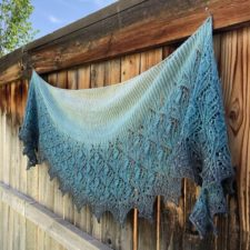 Wide shawl is brioche at the top, then lace for the other two-thirds.