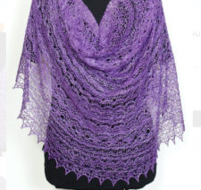 Lace weight shawl with very intricate lace throughout.