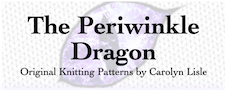 A dragon eye, with the name of the site written over it and the slogan Original patterns by Carolyn Lisle