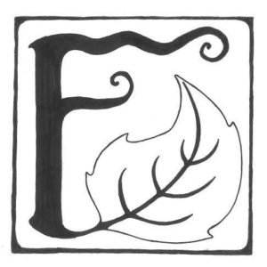 Fairy tale style letter F with a leaf growing out of it