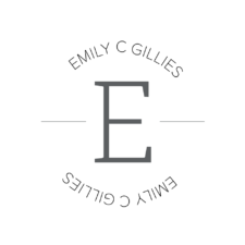 Emily C. Gillies logo, large capital E in the center, with Emily's name forward above it and backward below it