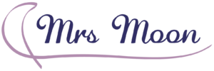 Mrs. Moon in scripted font with a ribbon around it