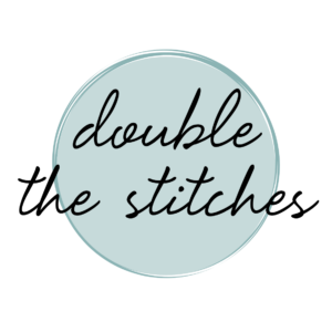 Double the Stitches written in script over a circle