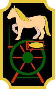 Toy horse balancing on a spinning wheel