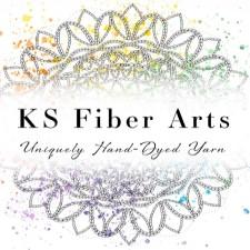 mandala style design with the words KS Fiber Arts. Uniquely Hand Dyed Yarn