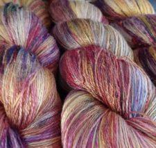 Variegated yarn in soft tones.