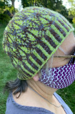 Colorwork hat with geometric pattern.