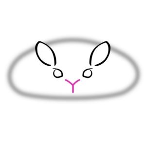 logo is a slightly sinister crouching rabbit