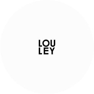 Round modern logo with the letters LOU stacked atop the letters LEY