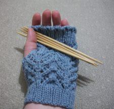 Chevron lace fingerless mitts.