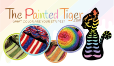 Logo has a colorful cat silhouette and several round photos of yarn and knitted items. Words say, The Painted Tiger.com. What color are your stripes?