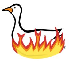 Drawing of goose in nest of flames