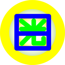 Duke of Nikko logo has bright circle surrounding Japanese character and graphic for equals sign