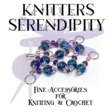 Knitter's Serendipity logo with stitch markers and dragonfly