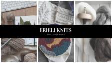 Erieli Knits logo with photos of designs and yarn.