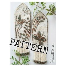 Mittens with fern and butterfly colowork
