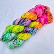 Speckled rainbow yarn.