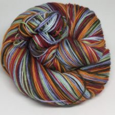 Self-striping yarn in colors of sky and desert.