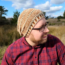 Slouchy hat with yarnover rows between sections.