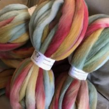 Soft colors of roving in a gently coiled skein.