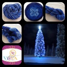 Split screen of blue gradient yarn and blue lights on a Christmas tree.