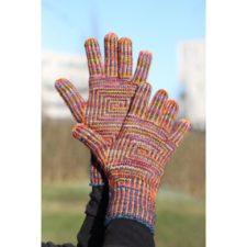 Striped gloves with geometric panel