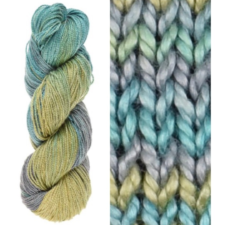 Variegated yarn in soft sea colors, skein and swatch