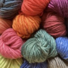 Stack of super-chunky semi-solid yarns