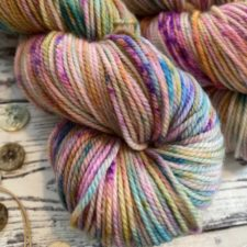 Highly variegated yarn in bright colors.