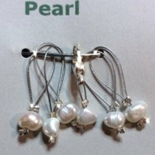 Freshwater pearls on silver wire.