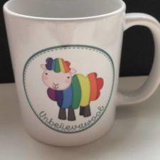Coffee Cup with rainbow sheep logo