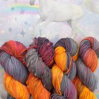 Variegated skeins in firey fall colors.