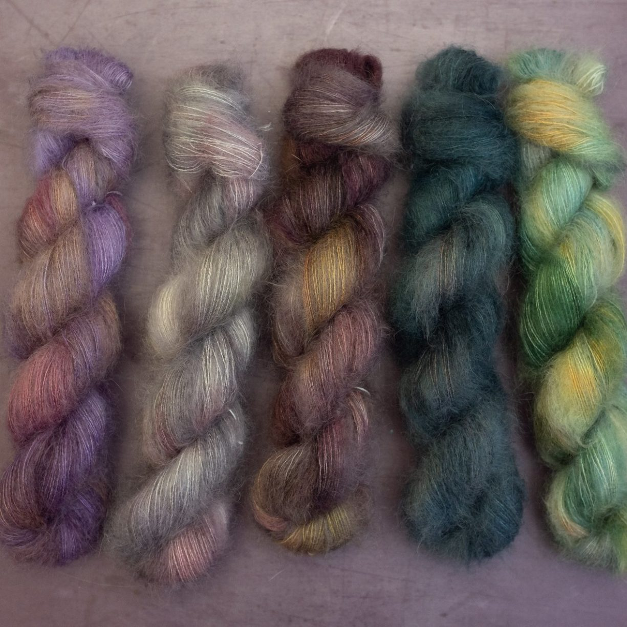 Mohair lace weight in variegated and semi solid skeins