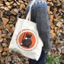Tote bag features Ullf the Viking.