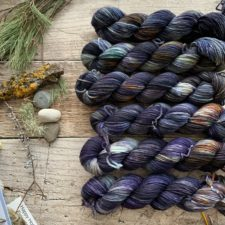 Deep, cool shades in 6 skeins, lined up next to plants and stones.