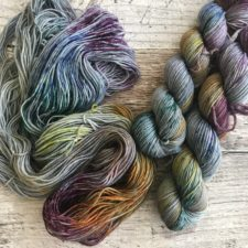Speckled yarns in warm tones.