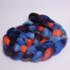 Deep shades with pops of bright color in braided roving.