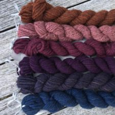 Selection of rustic minis in cool colors.