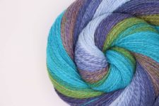 Swirled skein in about 6 medium colors.
