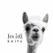 Alpaca with the words Jen Toll Knits
