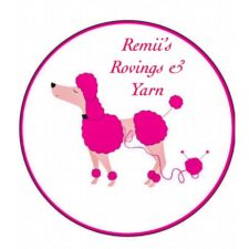 Pink poodle with the words Remii's Rovings & Yarn