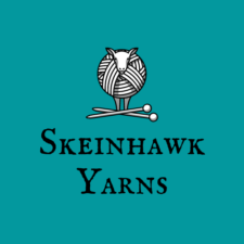 Drawing of a sheep whose body is a yarn ball and words Skeinhawk Yarns