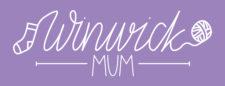 Winwick Mum logo. Winwick is drawn as if in yarn.
